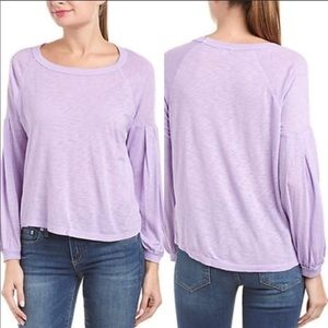 NWT Splendid Long Sleeve Slub Knit Purple Top, MED